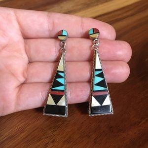 Vintage Zuni inlay earrings, Native American